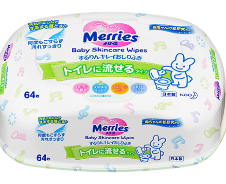 Детские влажные салфетки Merries Flushable, которые можно смывать в туалет